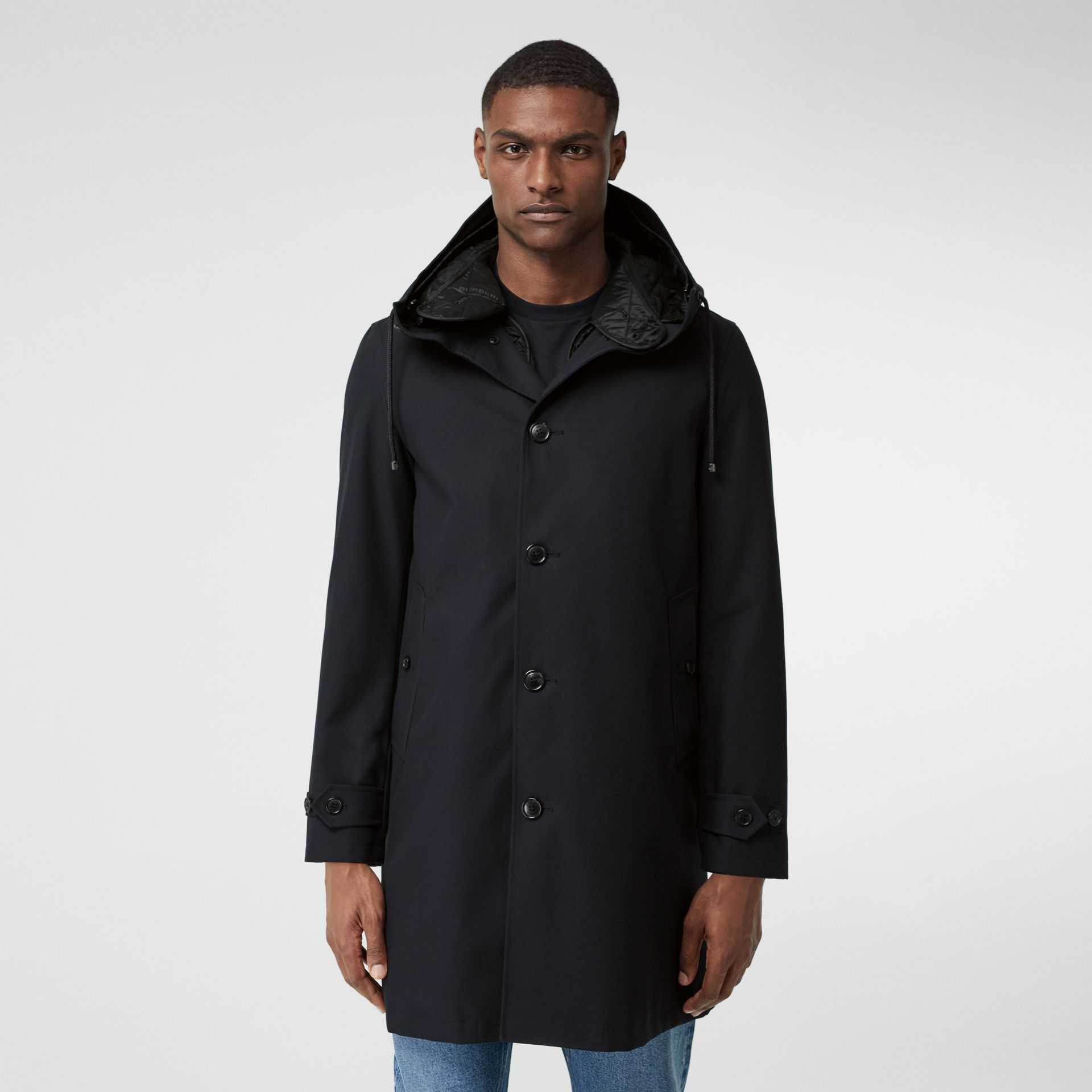 Cotton Gabardine Coat with Detachable Warmer in Midnight - Men | Burberry Australia - gallery image 5
