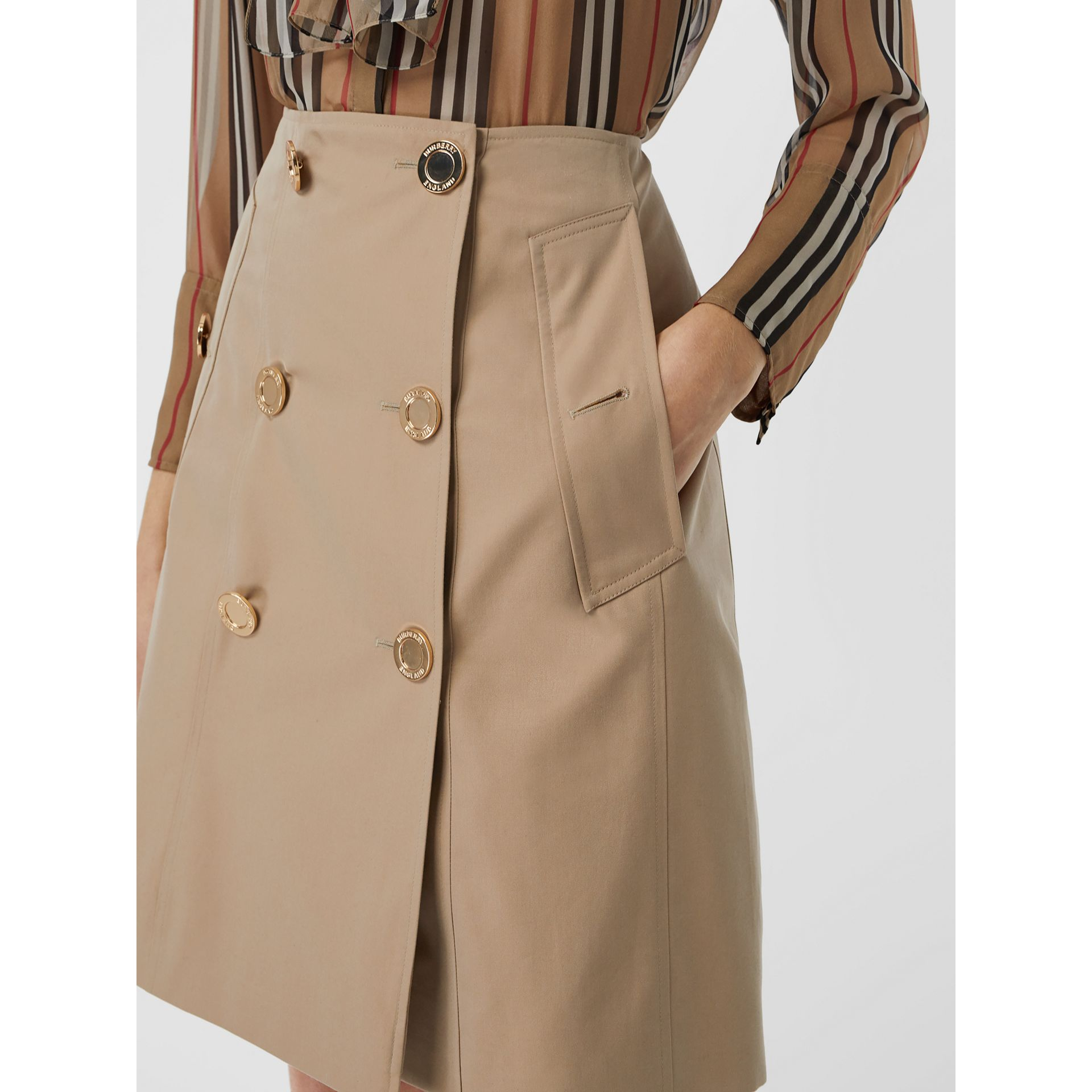 Cotton Gabardine Trench Skirt in Honey - Women | Burberry - gallery image 1