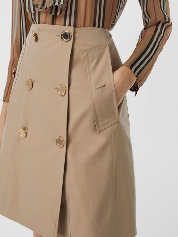 Cotton Gabardine Trench Skirt in Honey - Women | Burberry - cell image 1