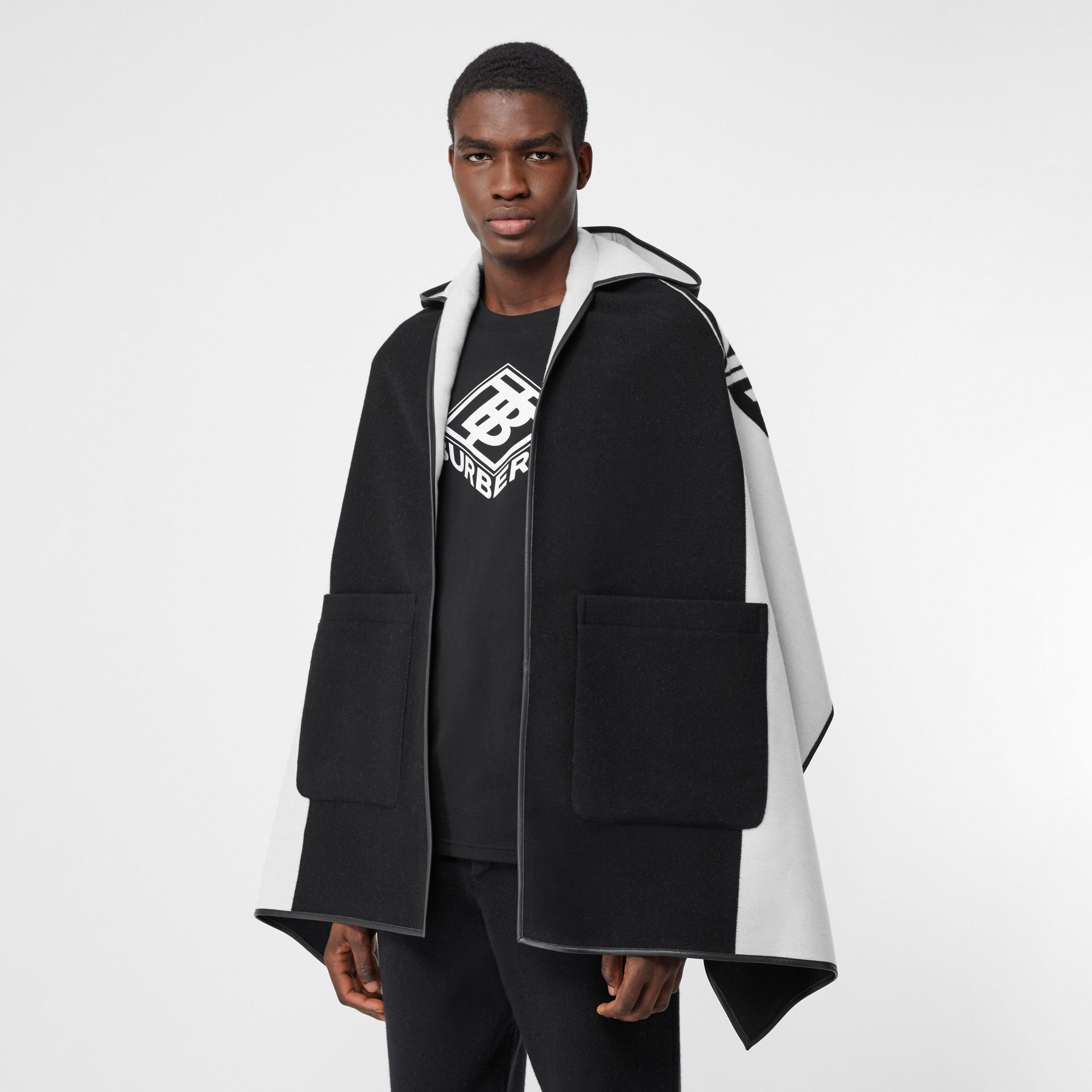 Logo Graphic Wool Cotton Jacquard Hooded Cape in Black/white | Burberry United States - gallery image 4