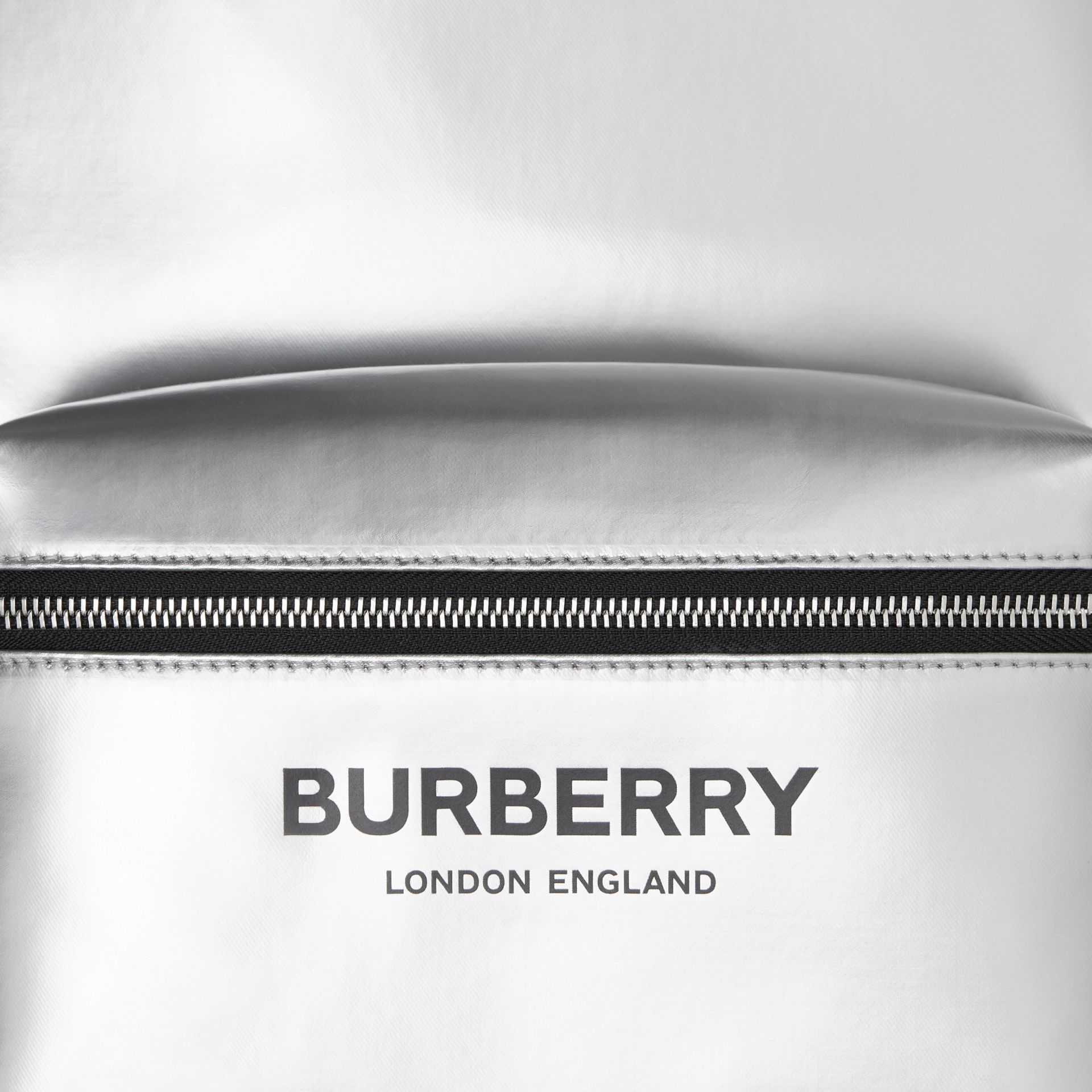 Metallic Coated Canvas Backpack in Silver   Burberry United States - gallery image 8