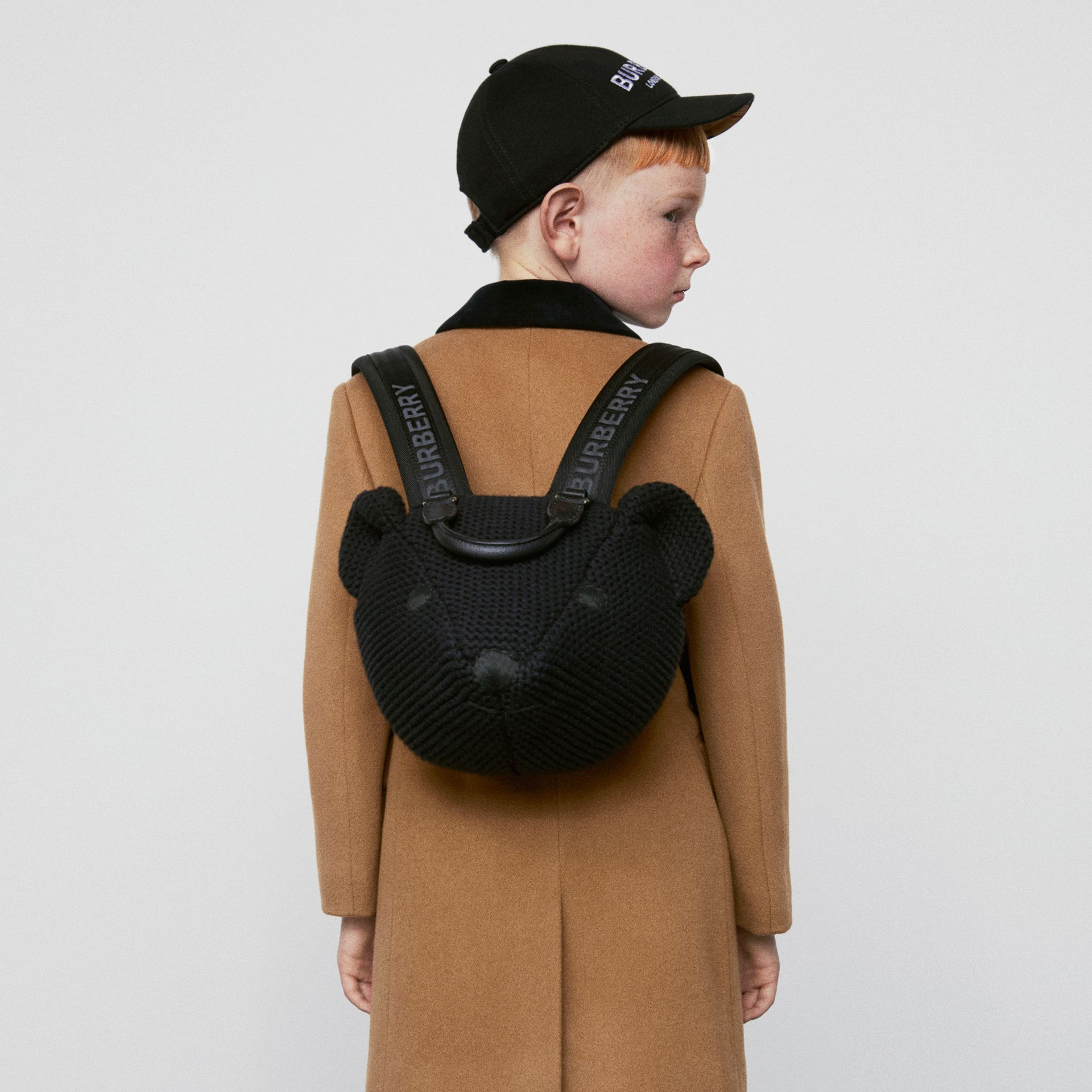Thomas Bear Knit Cotton Backpack in Black - Children | Burberry Australia - gallery image 4