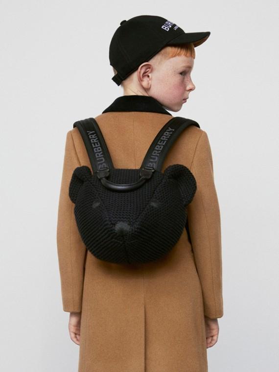 Thomas 泰迪熊針織棉質後背包 (黑色)