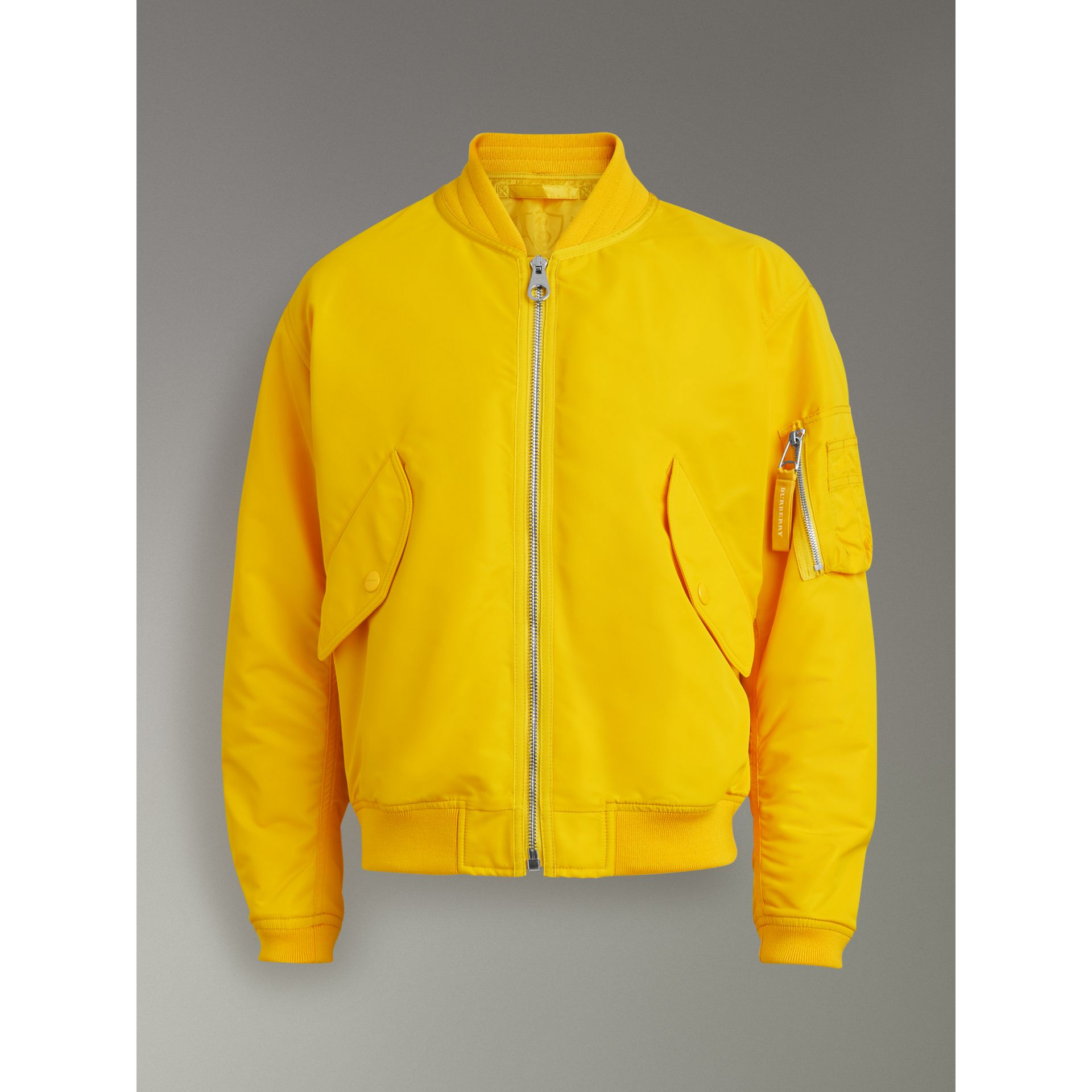 Nylon Bomber Jacket in Bright Yellow - Men | Burberry United Kingdom - gallery image 3