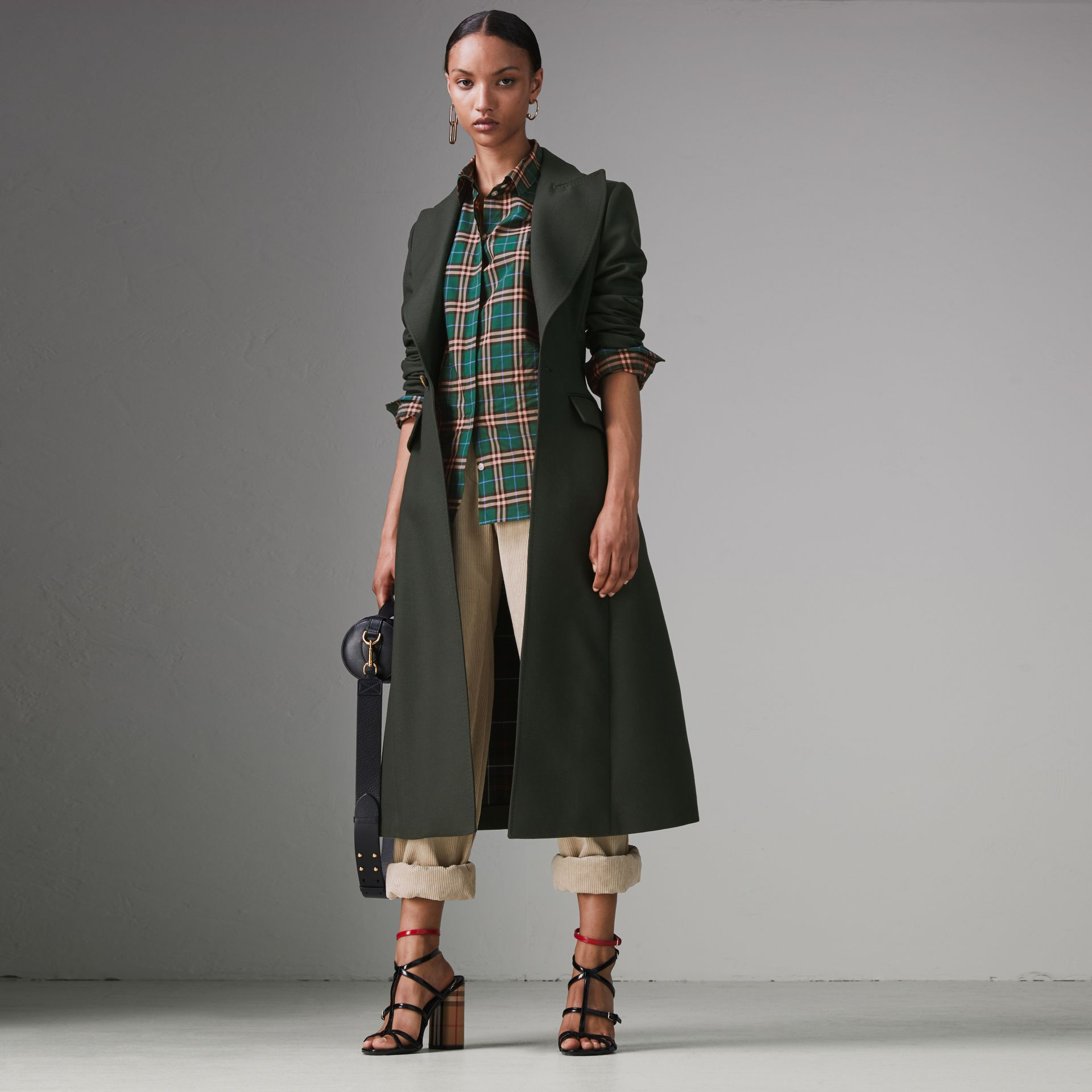 Check Cotton Shirt in Dark Forest Green - Women | Burberry - gallery image 0