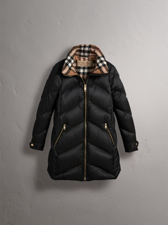 Chevron-quilted Down-filled Coat in Black - Women | Burberry - cell image 3