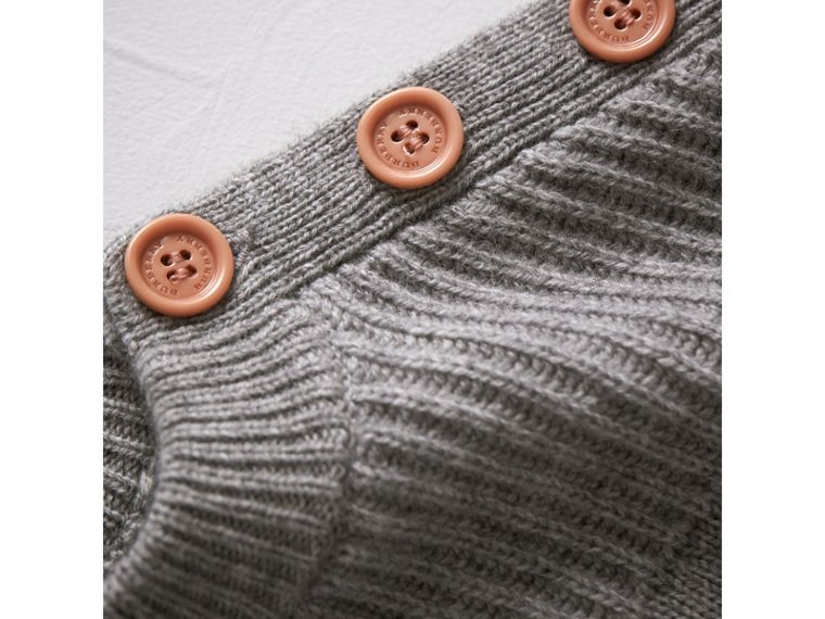 Ruffle Detail Wool Cashmere Jumper Dress in Grey Melange | Burberry - cell image 1