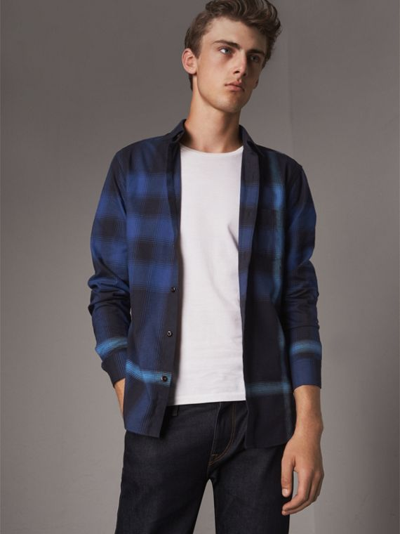 Ombré Check Cotton Flannel Shirt in Cobalt Blue
