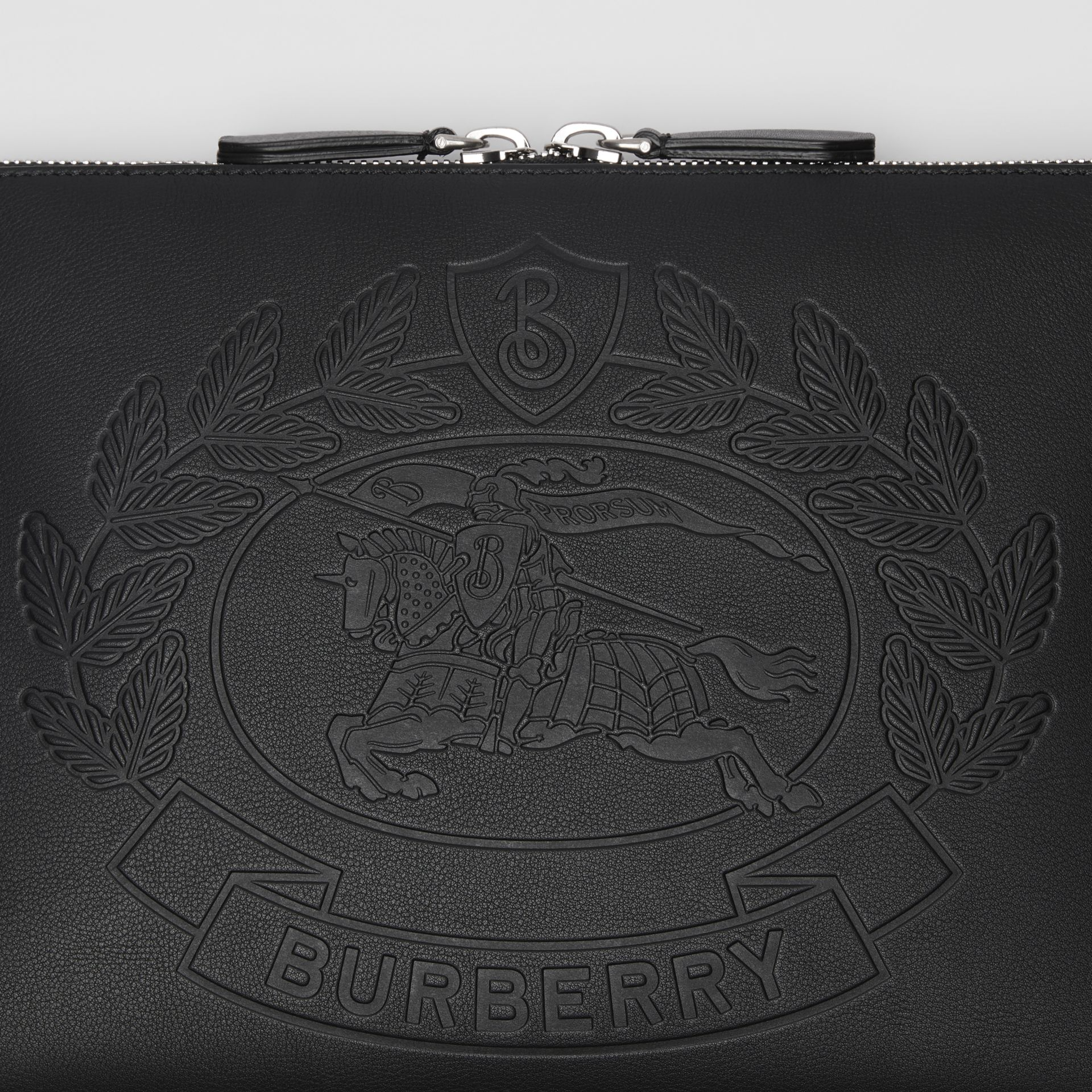 Embossed Crest Leather Document Case in Black - Men | Burberry - gallery image 1