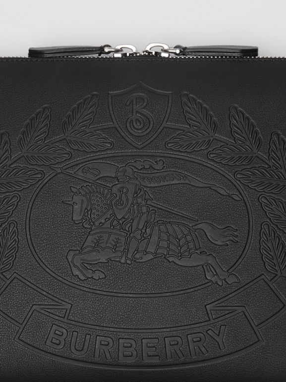 Embossed Crest Leather Document Case in Black - Men | Burberry - cell image 1