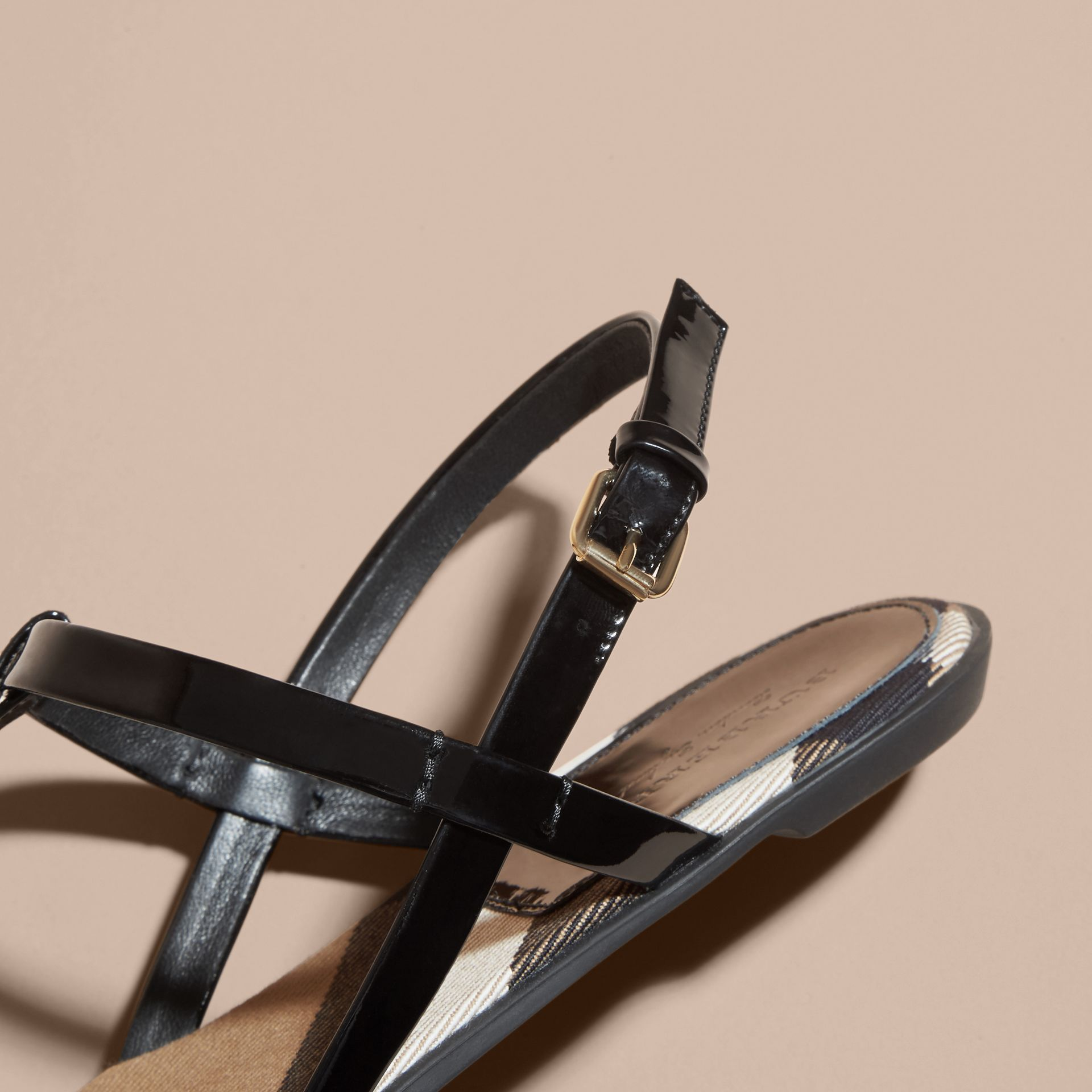 House Check-lined Leather Sandals in Black - Women | Burberry Australia - gallery image 2
