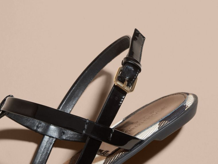 House Check-lined Leather Sandals in Black - Women | Burberry - cell image 1
