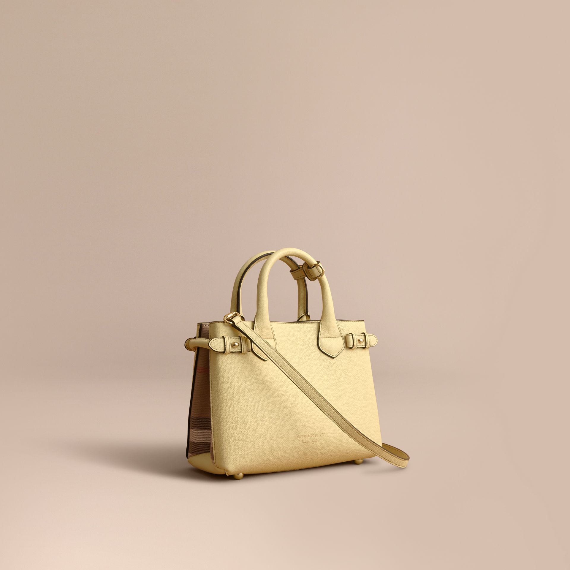 The Small Banner in Leather and House Check in Camomile Yellow - Women | Burberry - gallery image 1