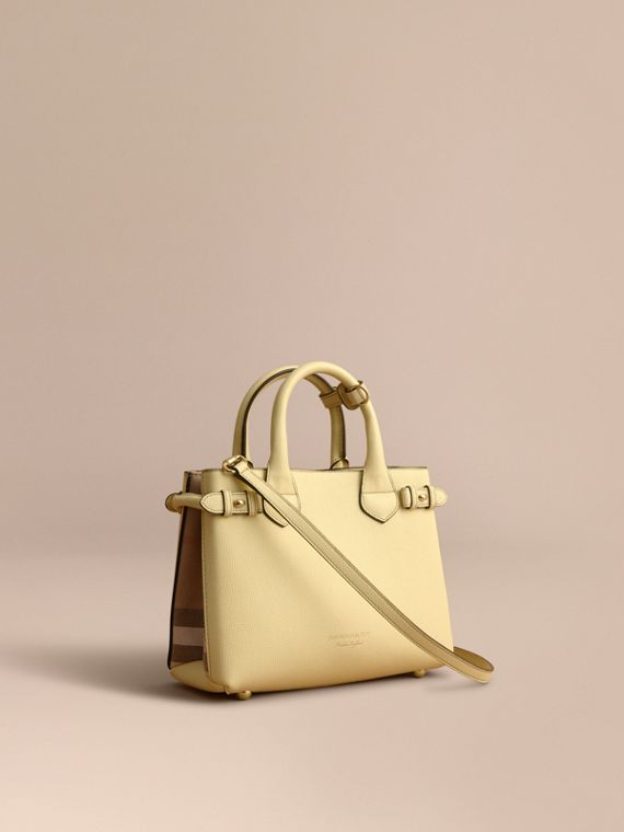 The Small Banner in Leather and House Check in Camomile Yellow - Women | Burberry Australia