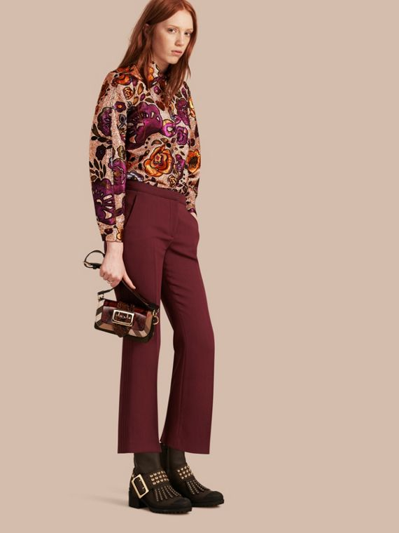 Cropped Tailored Trousers Deep Burgundy