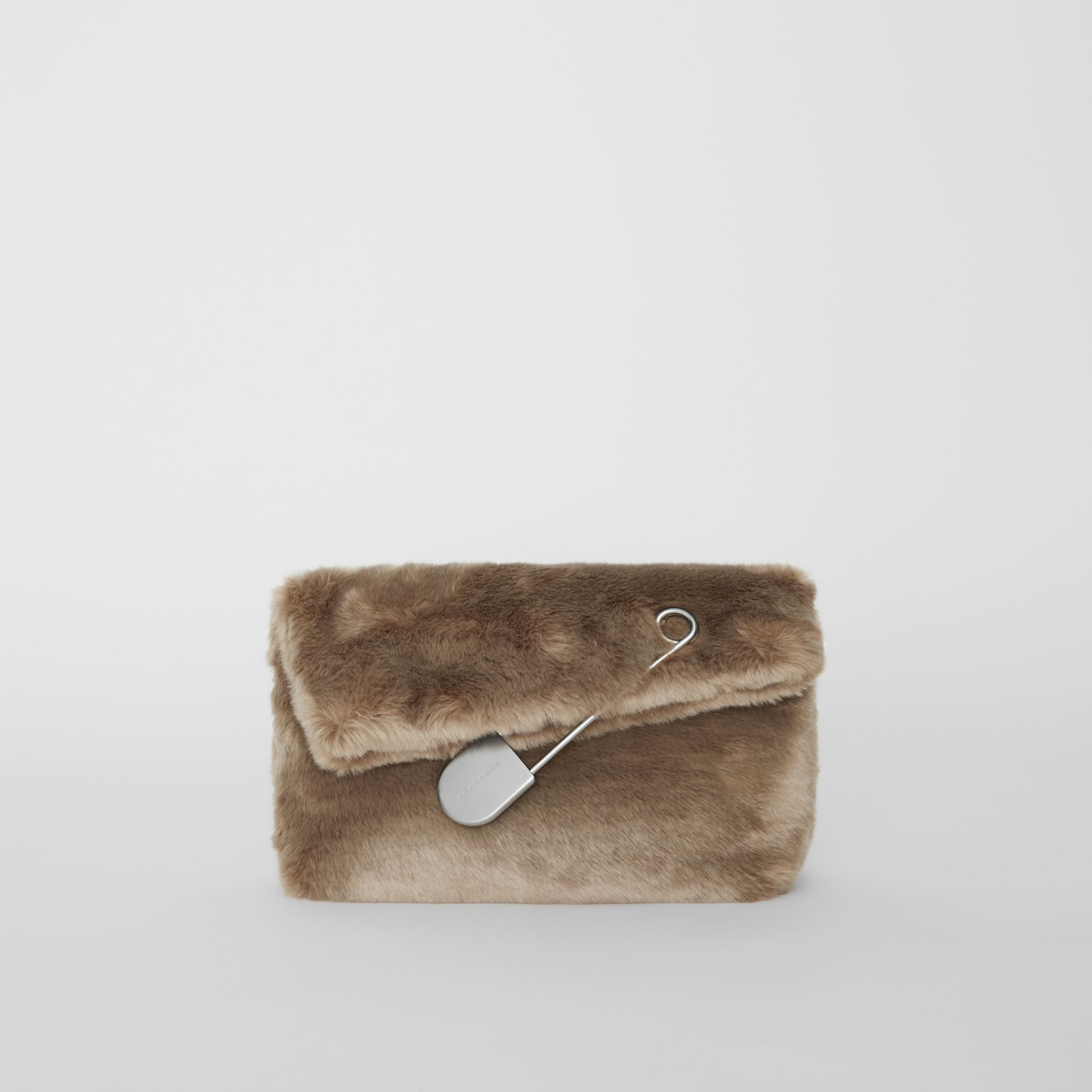The Medium Pin Clutch in Faux Fur in Light Grey - Women | Burberry Hong Kong - gallery image 0