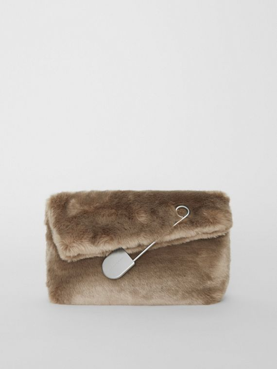 The Medium Pin Clutch in Faux Fur in Light Grey