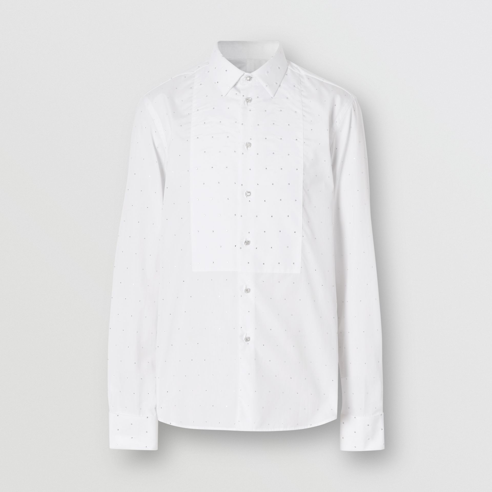 Embellished Cotton Poplin Dress Shirt in Optic White - Men | Burberry - gallery image 3
