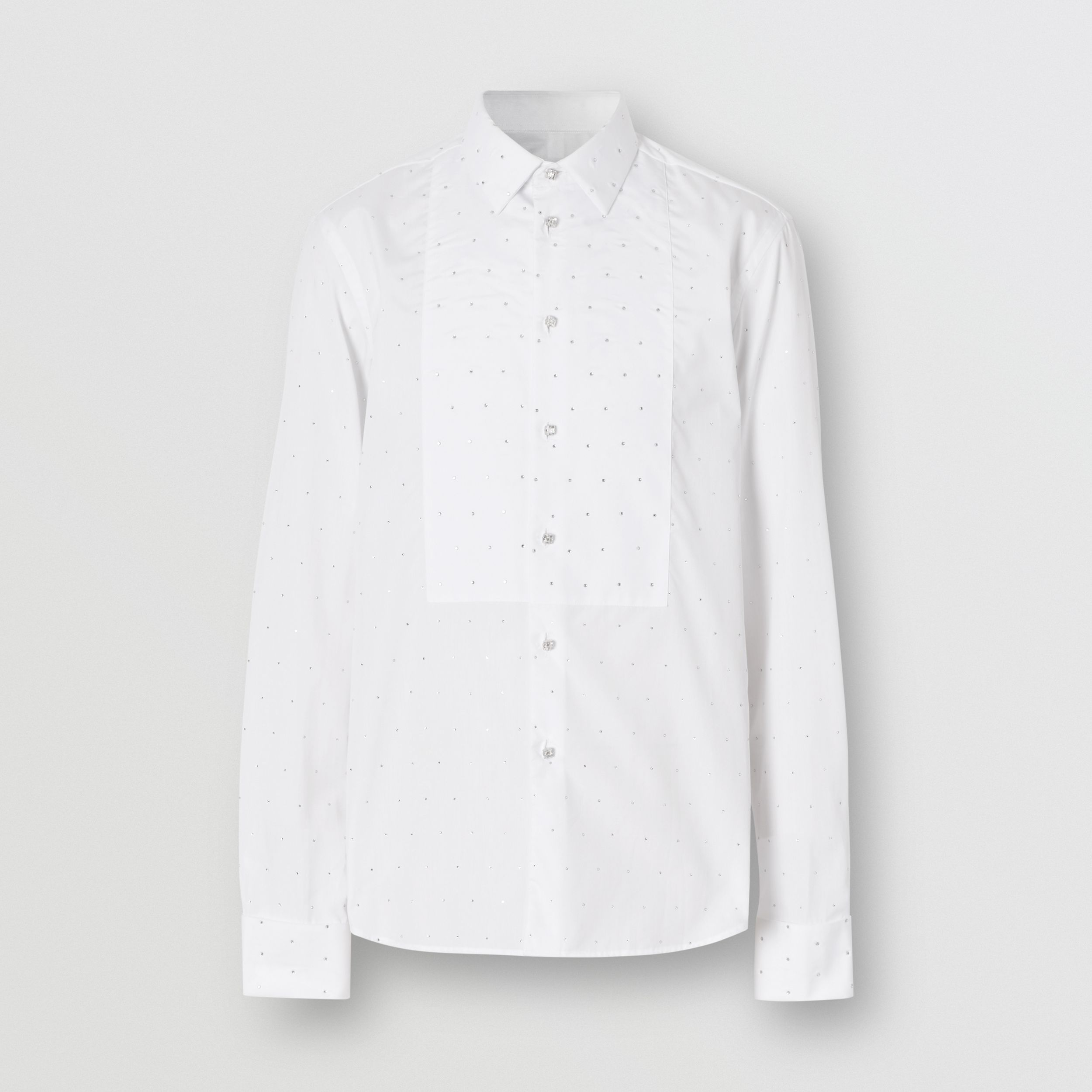 Embellished Cotton Poplin Dress Shirt in Optic White - Men | Burberry - 4