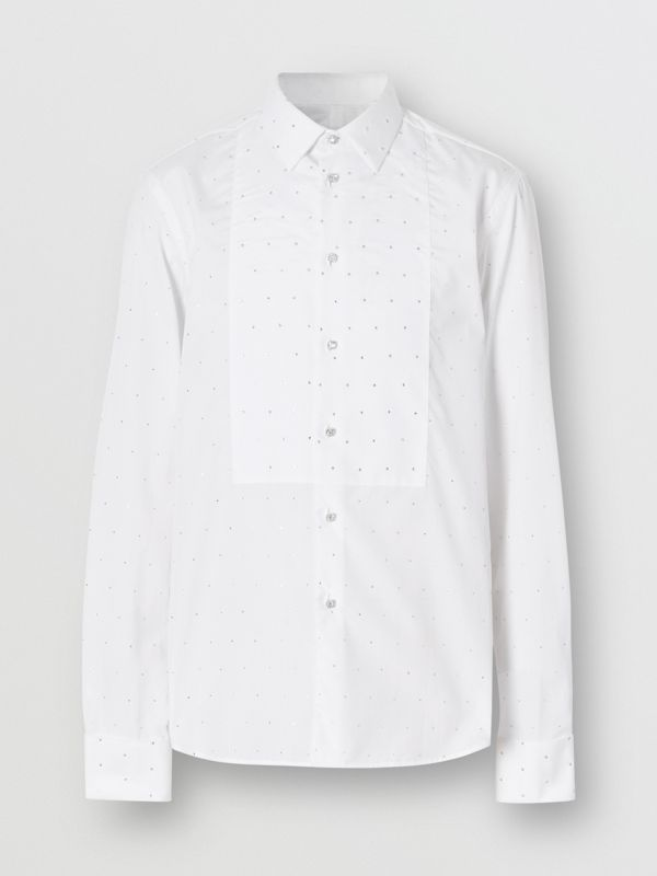 Embellished Cotton Poplin Dress Shirt in Optic White - Men | Burberry - cell image 3