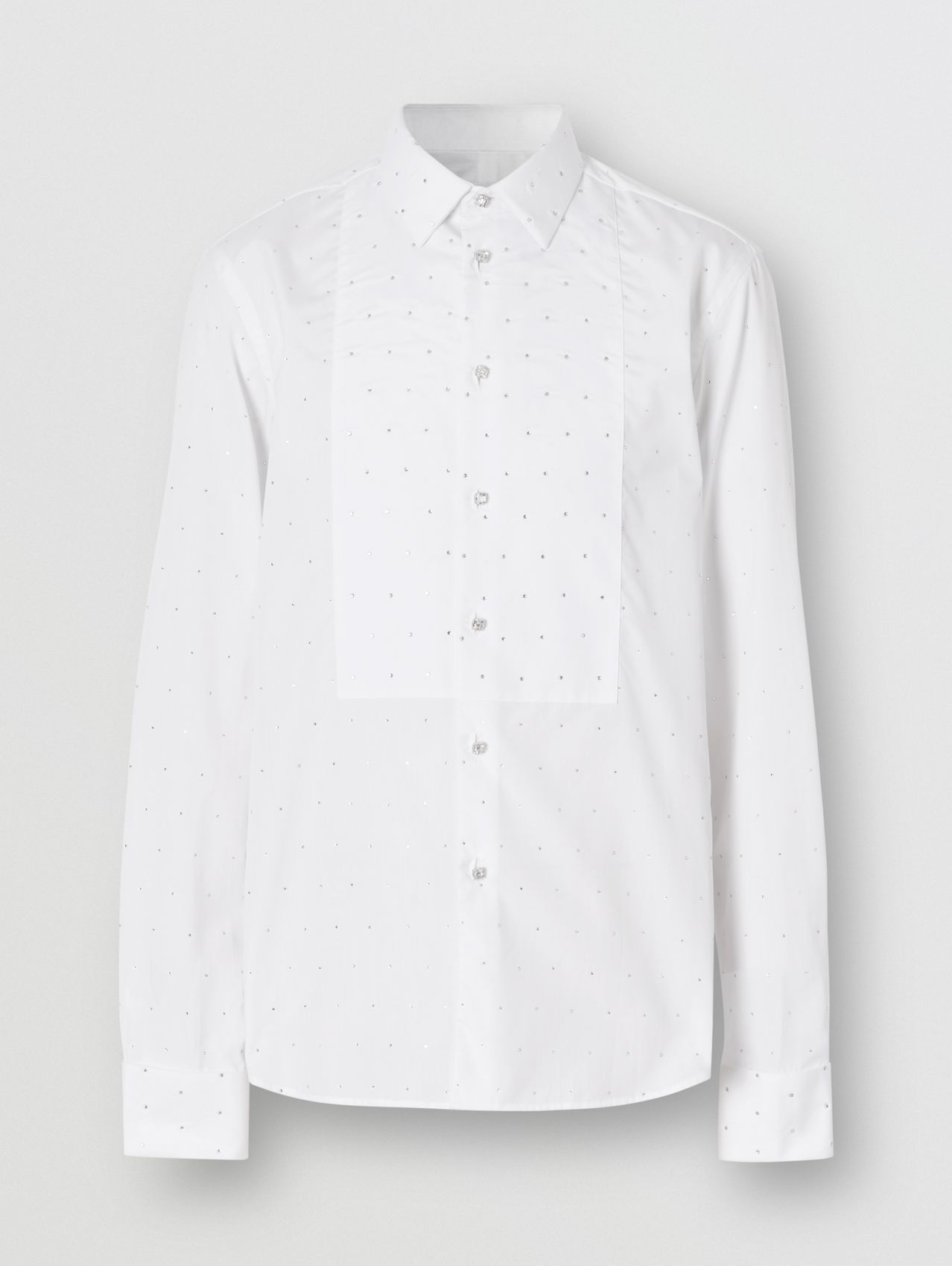 Embellished Cotton Poplin Dress Shirt (Optic White)