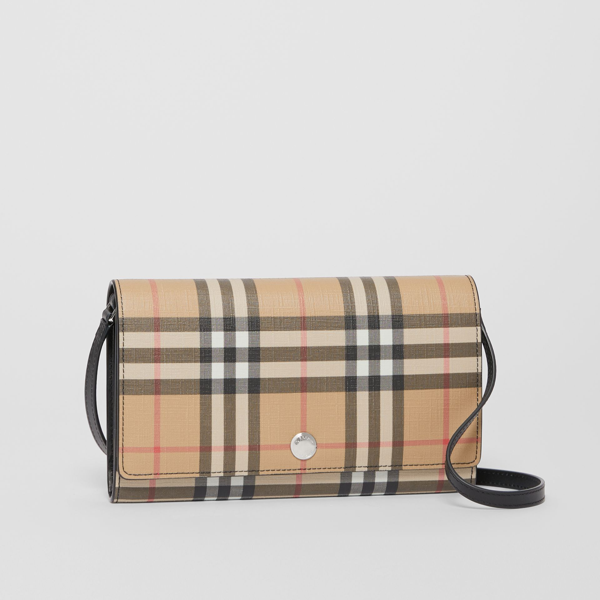 Vintage Check E-canvas Wallet with Detachable Strap in Black - Women | Burberry - gallery image 6