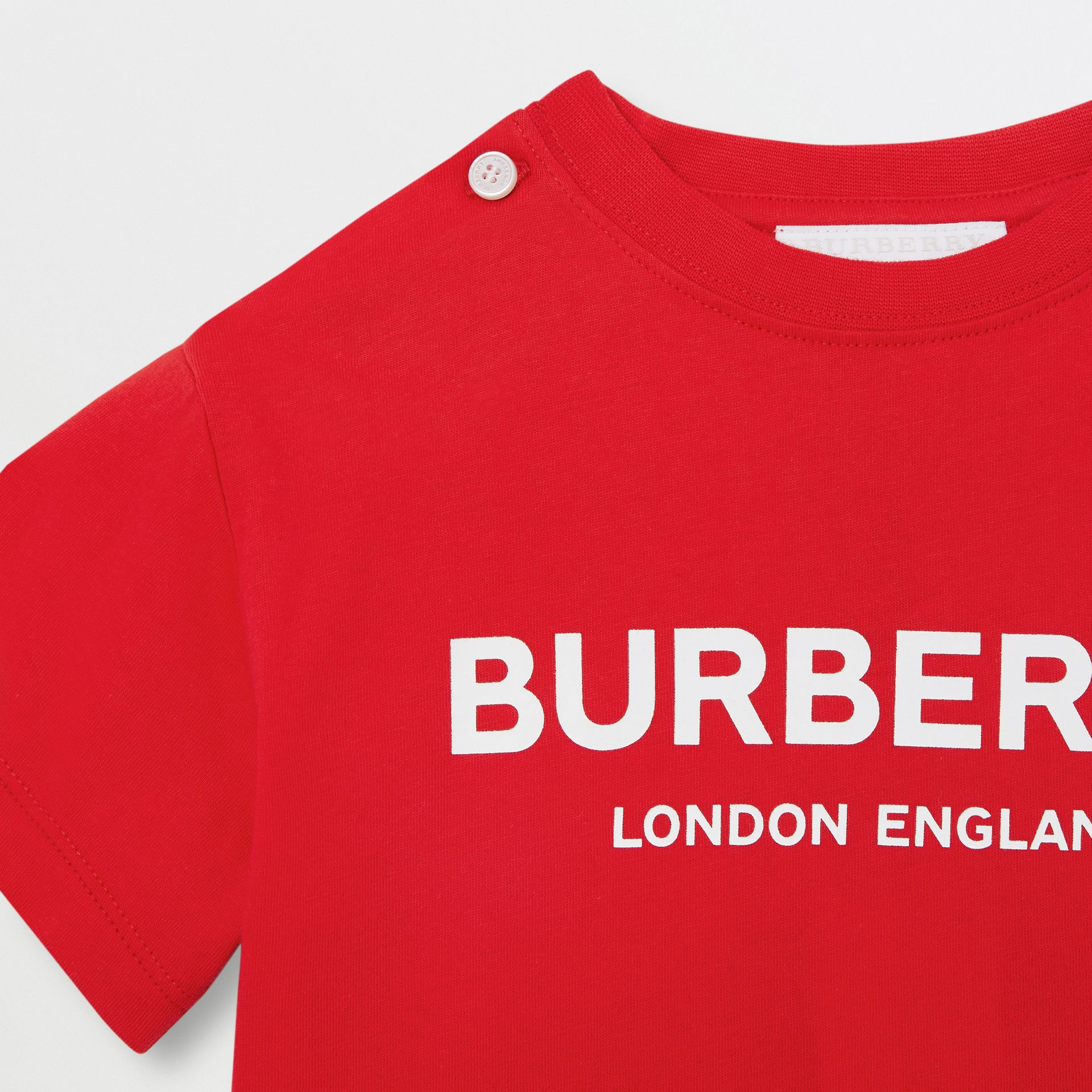 Logo Print Cotton T-shirt in Bright Red - Children | Burberry United Kingdom - gallery image 4