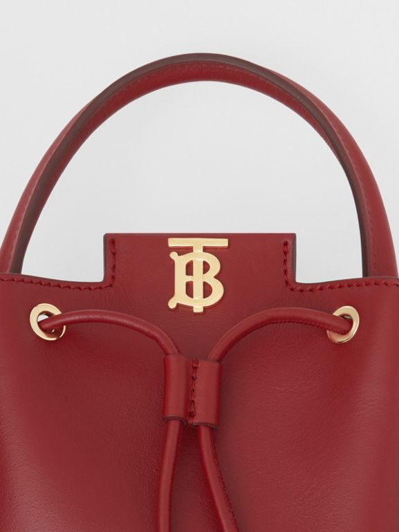 Monogram Motif Leather Bucket Bag in Dark Carmine - Women | Burberry United Kingdom - cell image 1