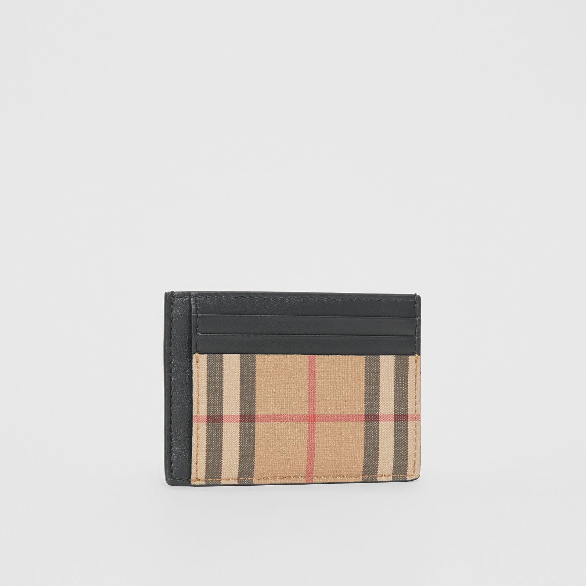 Vintage Check and Leather Money Clip Card Case in Archive Beige - Men | Burberry Canada - gallery image 3