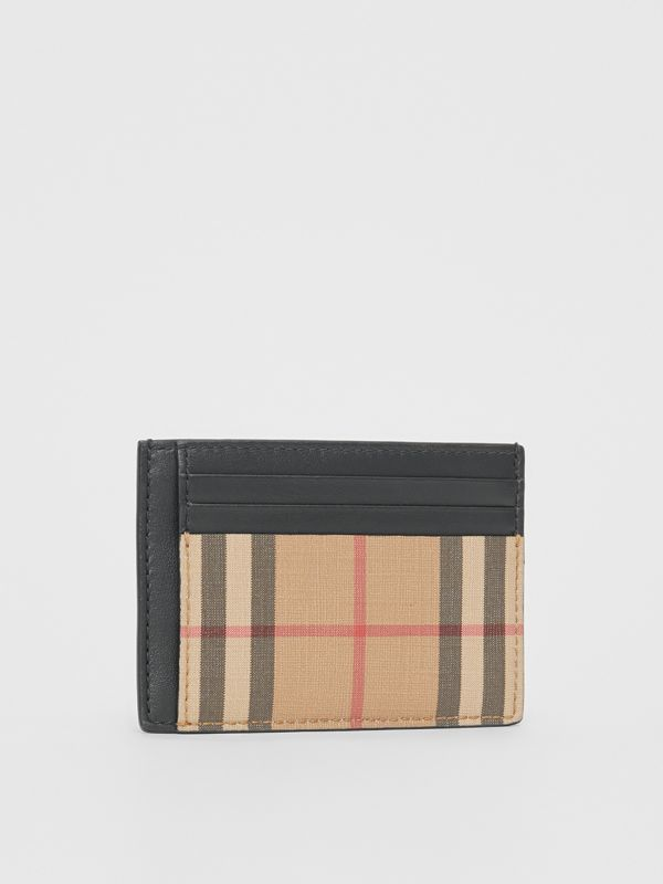 Vintage Check and Leather Money Clip Card Case in Archive Beige - Men | Burberry Canada - cell image 3