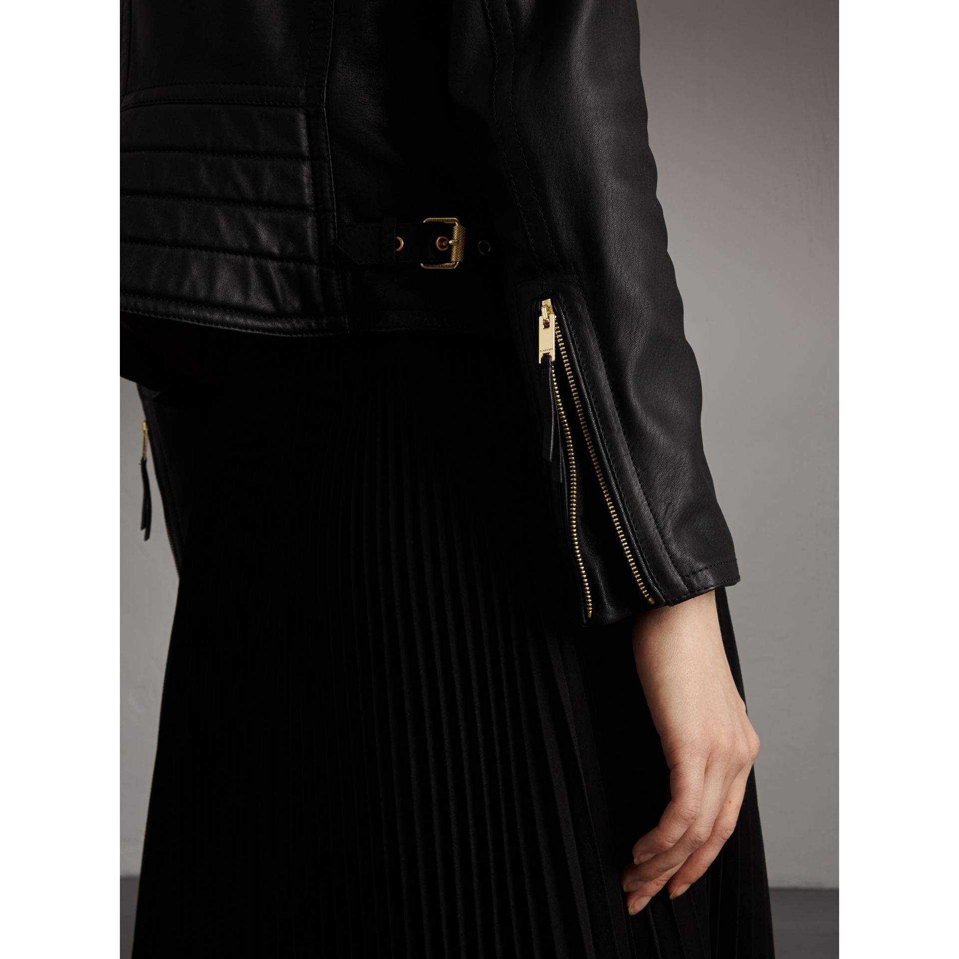 Quilted Panel Lambskin Biker Jacket in Black - Women | Burberry - gallery image 5