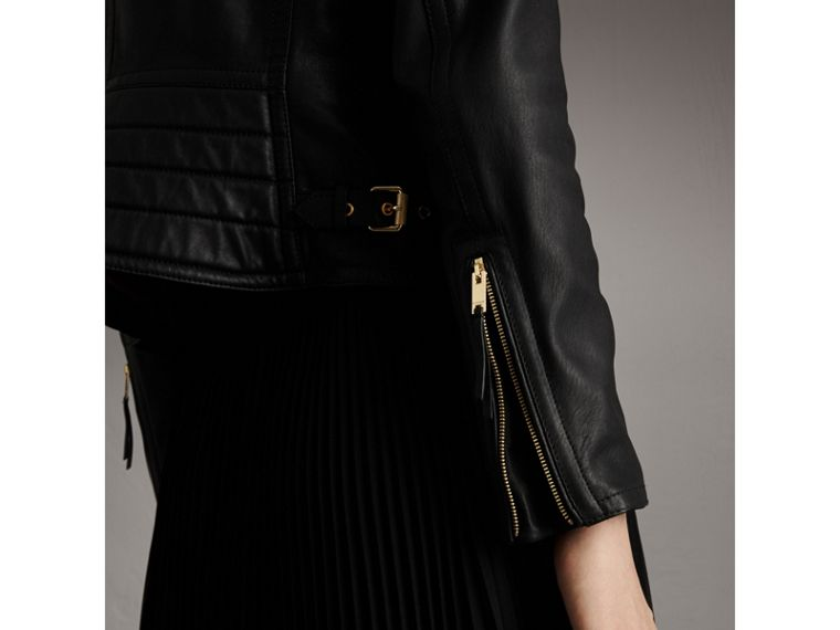 Quilted Panel Lambskin Biker Jacket in Black - Women | Burberry - cell image 4