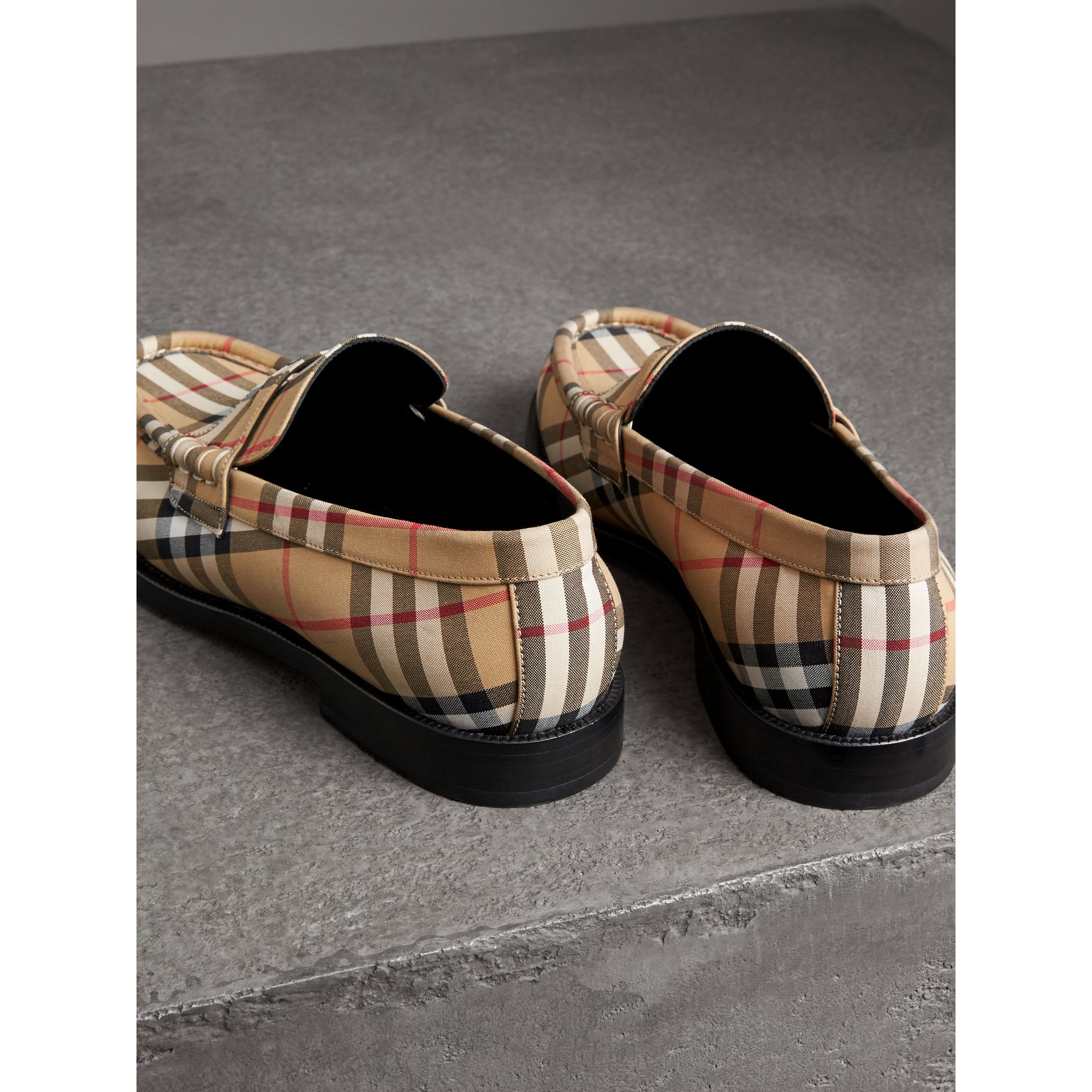Vintage Check Cotton Loafers in Antique Yellow - Men | Burberry - gallery image 2