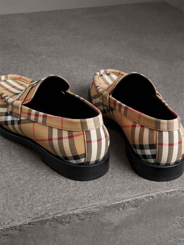Vintage Check Cotton Loafers in Antique Yellow - Men | Burberry Singapore - cell image 3