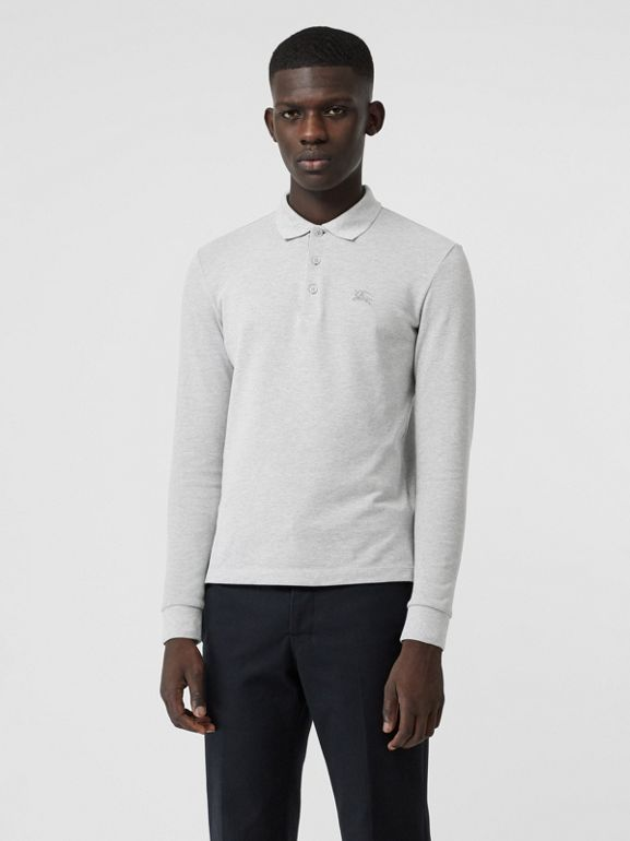 Long-sleeve Cotton Piqué Polo Shirt in Pale Grey Melange - Men | Burberry - cell image 1