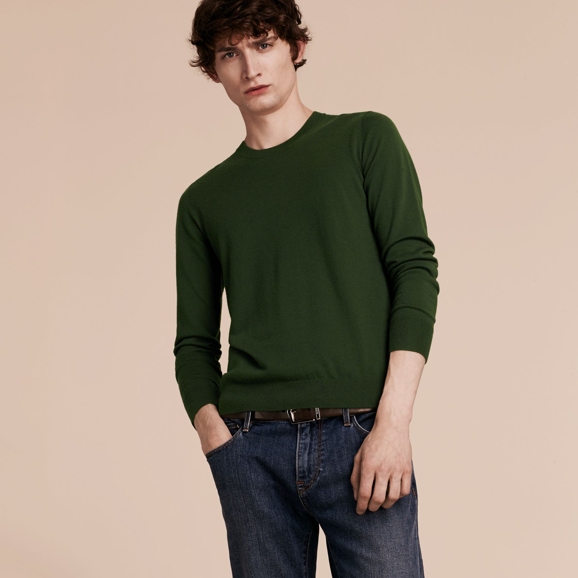 Olive green Lightweight Crew Neck Cashmere Sweater with Check Trim Olive Green - gallery image 6