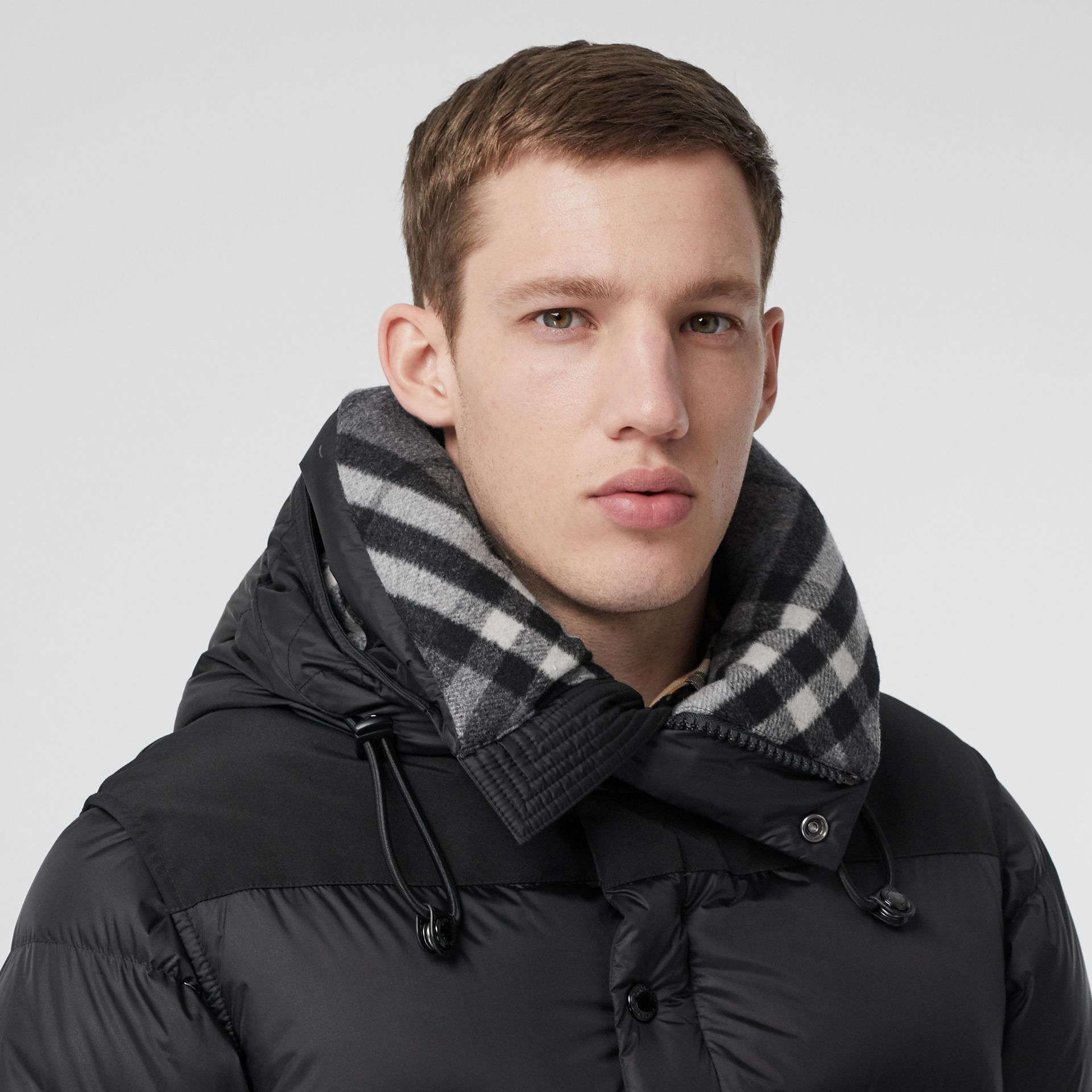 Detachable Sleeve Hooded Puffer Jacket in Black - Men | Burberry - gallery image 1