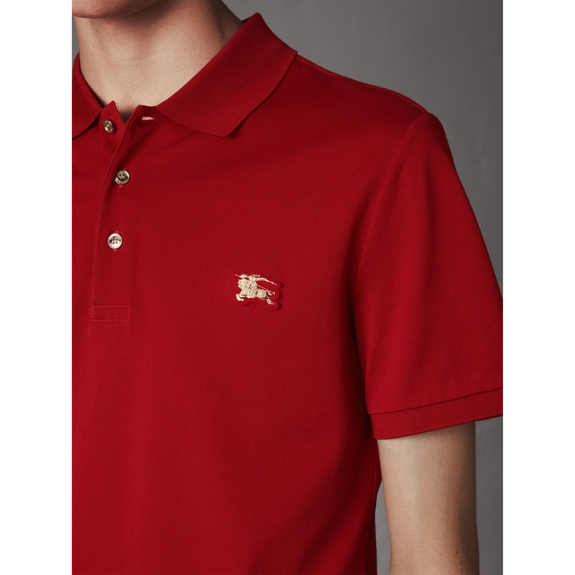 Cotton Piqué Polo Shirt in Military Red - Men | Burberry - gallery image 2