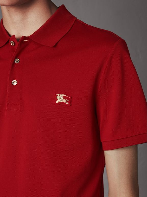 Cotton Piqué Polo Shirt in Military Red - Men | Burberry - cell image 1