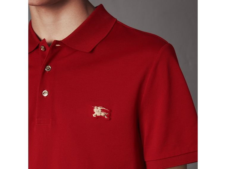 Cotton Piqué Polo Shirt in Military Red - Men | Burberry United Kingdom - cell image 1