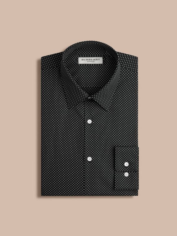 Ink Slim Fit Polka Dot Cotton Shirt - cell image 3