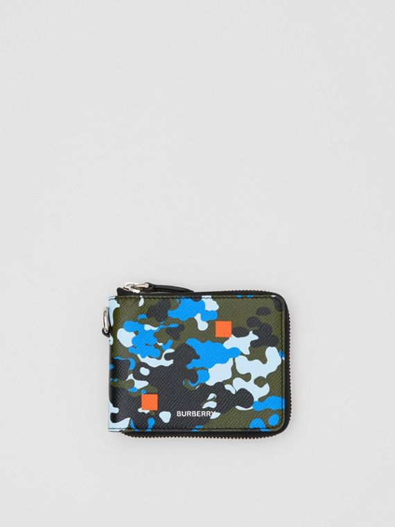 Camouflage Print Grainy Leather Ziparound Wallet in Blue