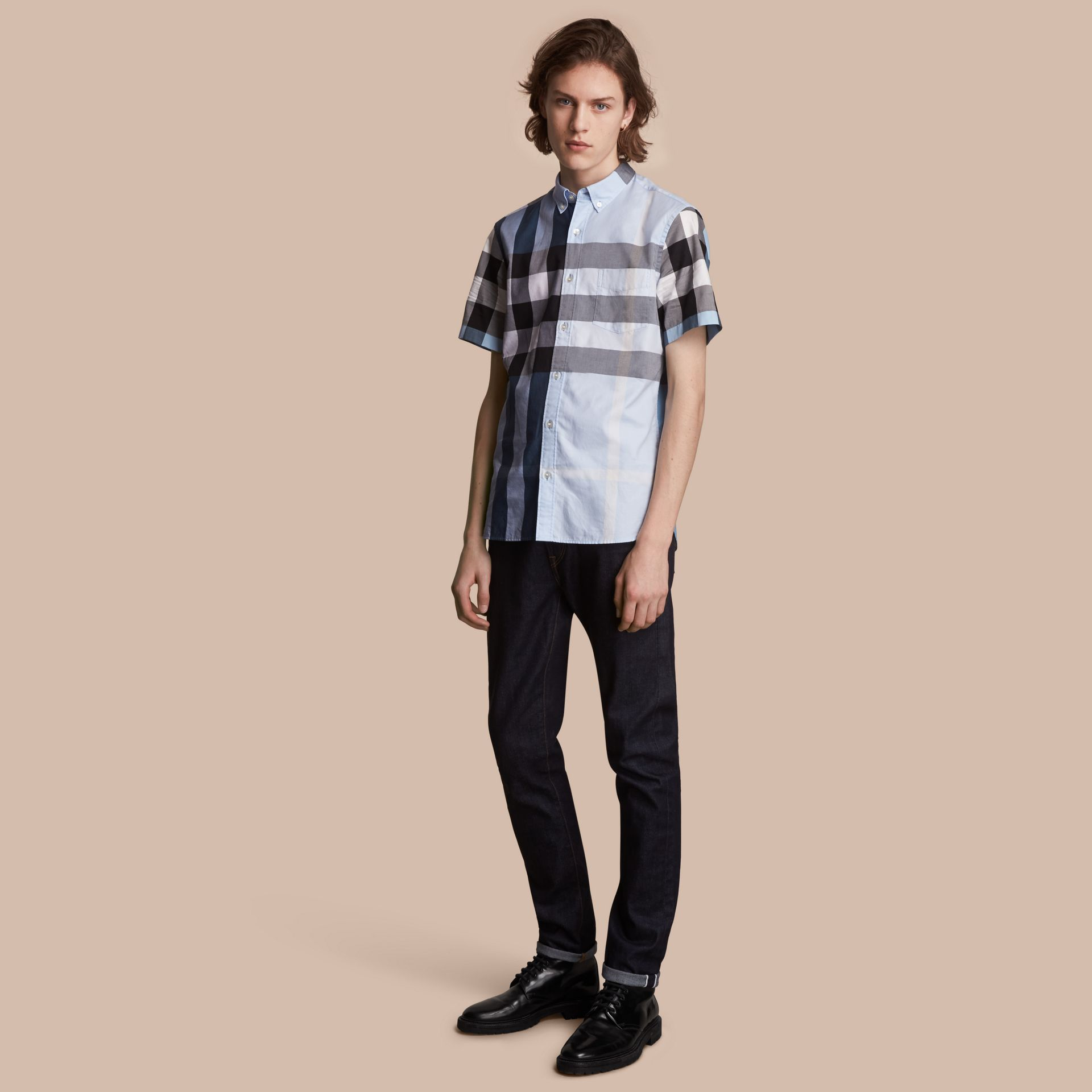 Button-down Collar Short-sleeve Check Cotton Shirt in Lupin Blue - Men | Burberry - gallery image 1