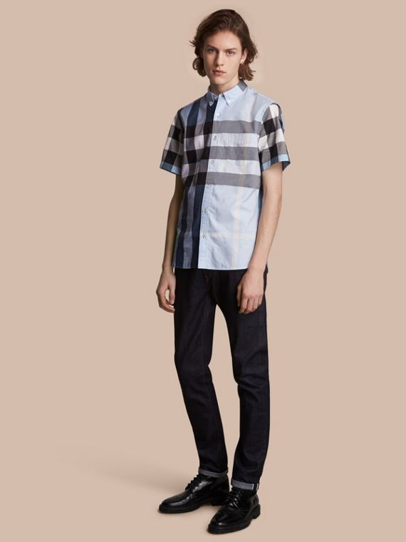 Button-down Collar Short-sleeve Check Cotton Shirt in Lupin Blue