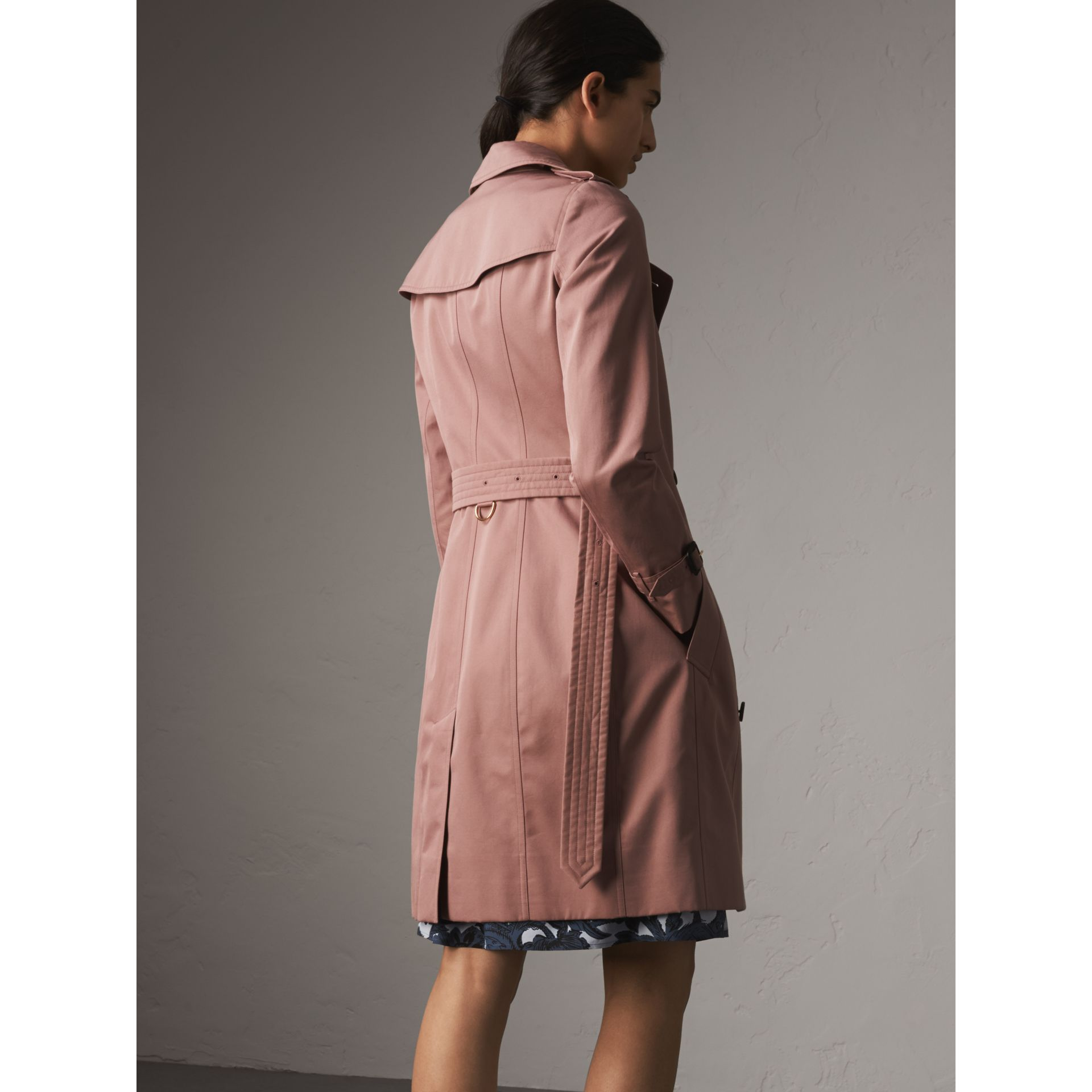 Cotton Gabardine Long Trench Coat in Blush - Women | Burberry - gallery image 3