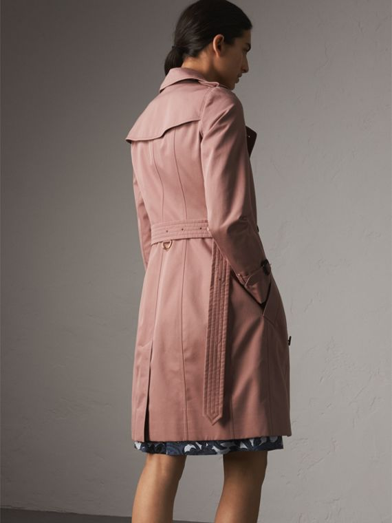 Cotton Gabardine Long Trench Coat in Blush - Women | Burberry - cell image 2