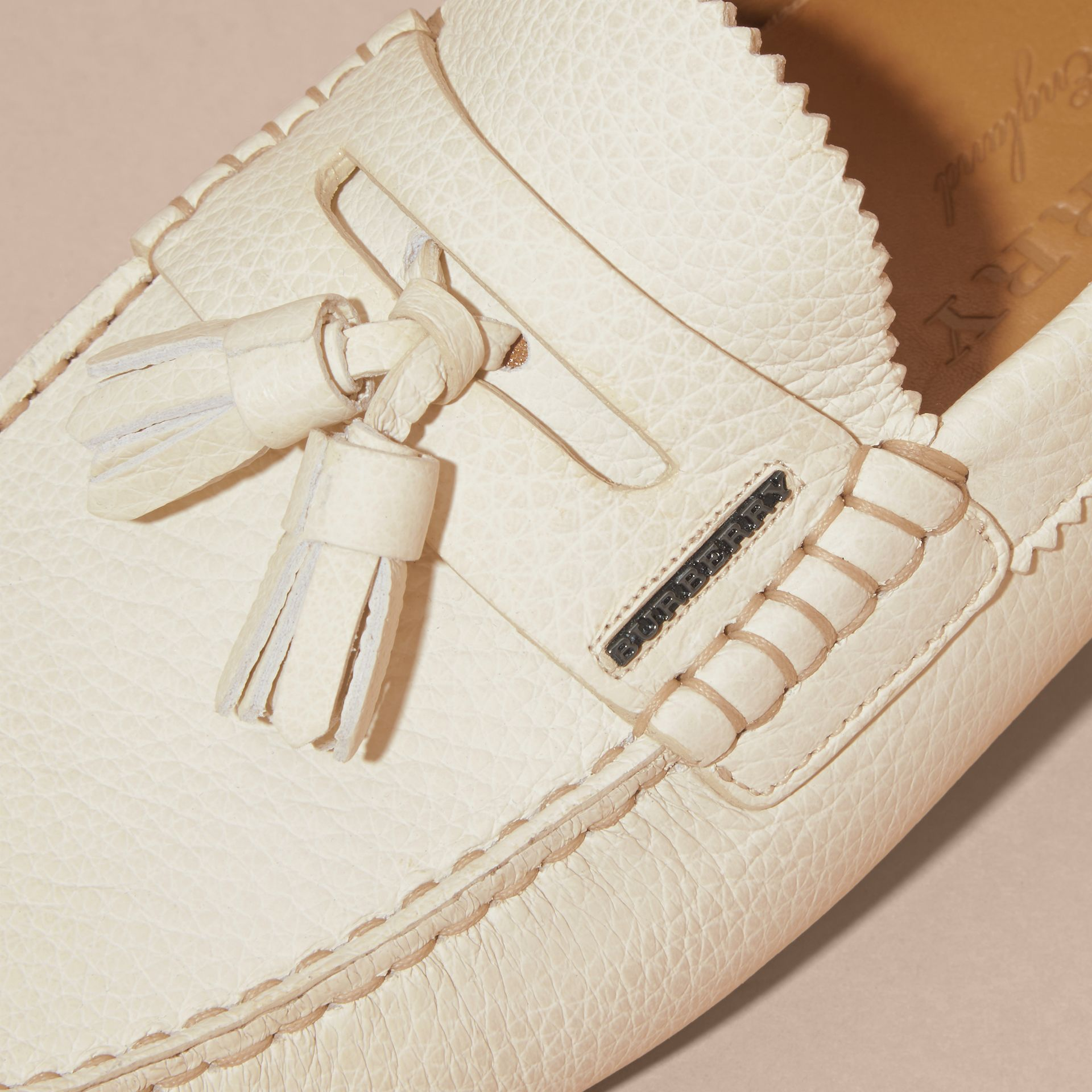 Tasselled Grainy Leather Loafers in Off White - gallery image 2