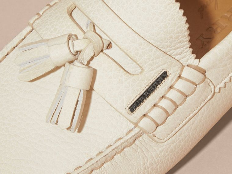 Tasselled Grainy Leather Loafers in Off White - cell image 1