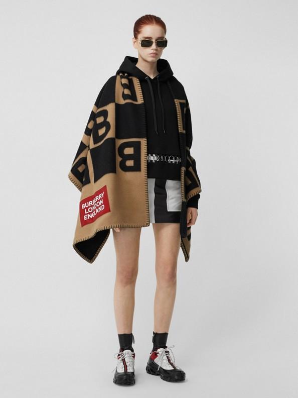 Reversible B Motif Wool Cashmere Blanket Cape in Archive Beige