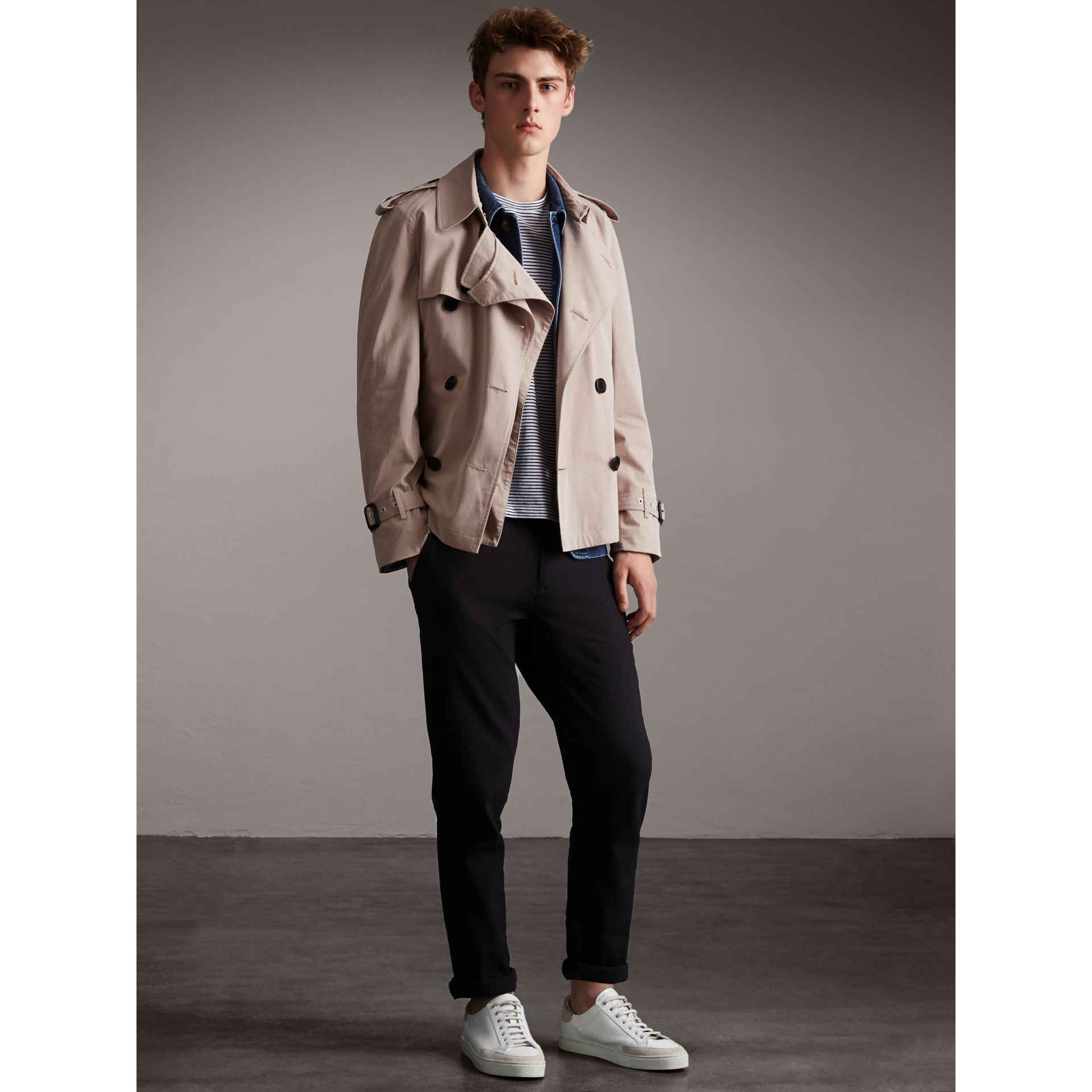 Unisex Tropical Gabardine Trench Jacket in Light Taupe - Men | Burberry - gallery image 6